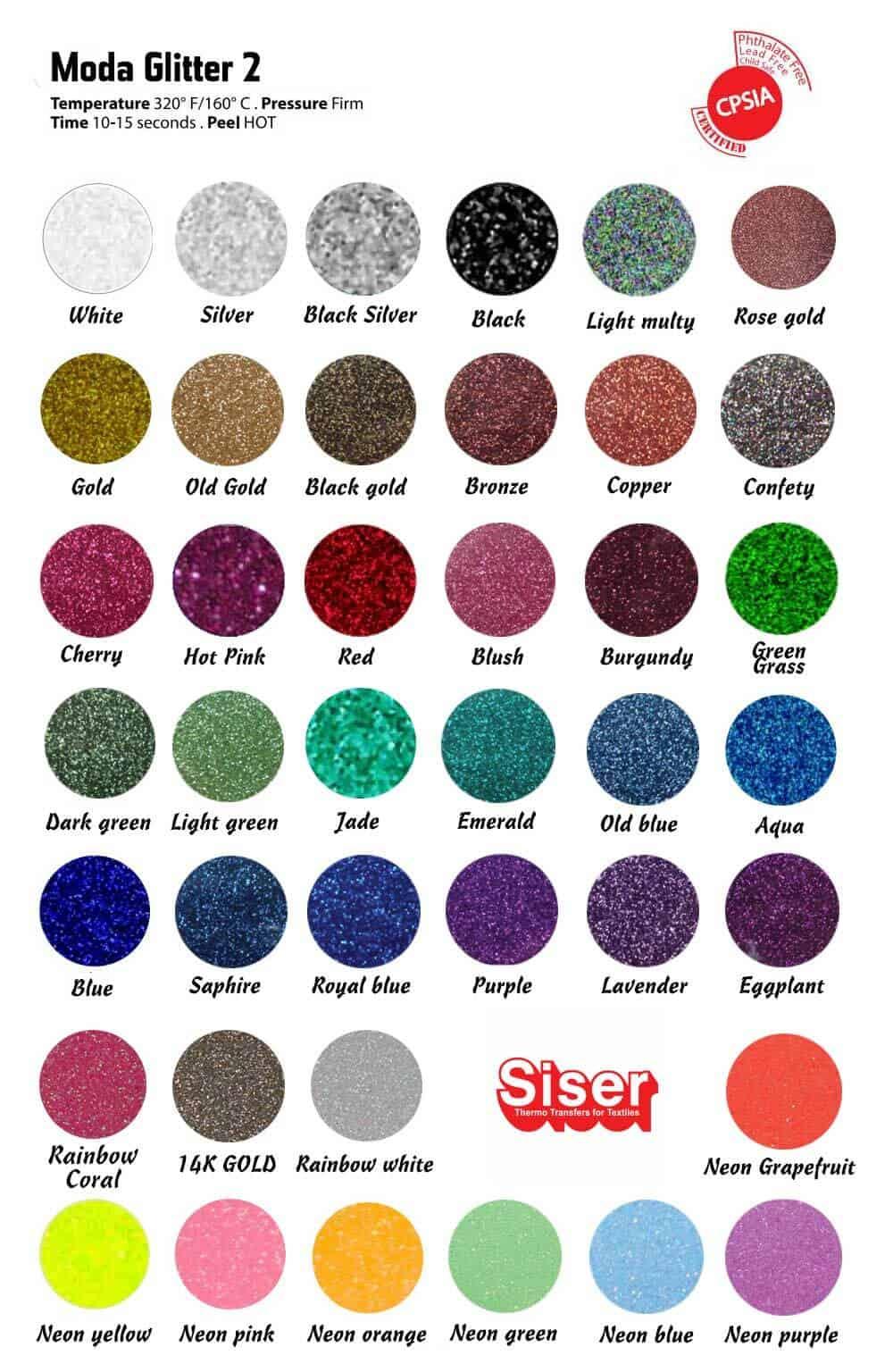 Siser Glitter Color Chart 2019