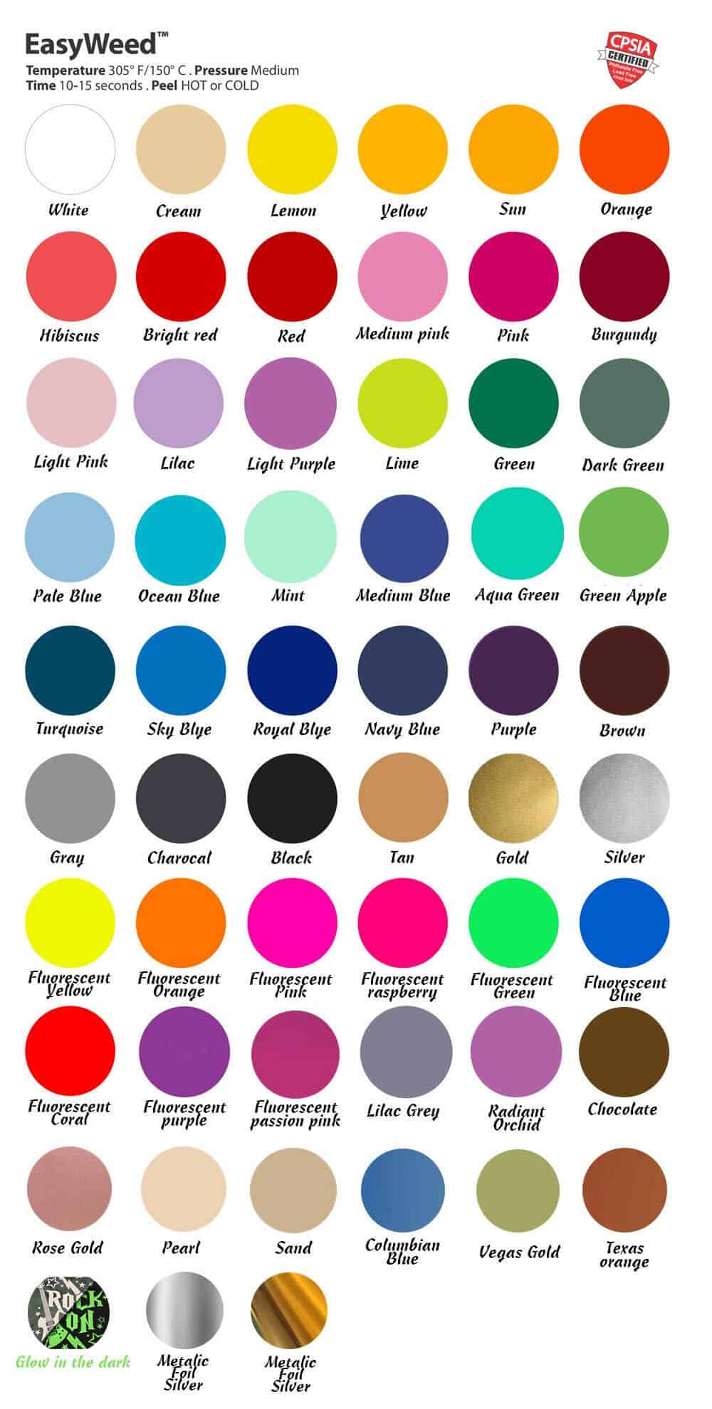 Siser EasyWeed Color Chart