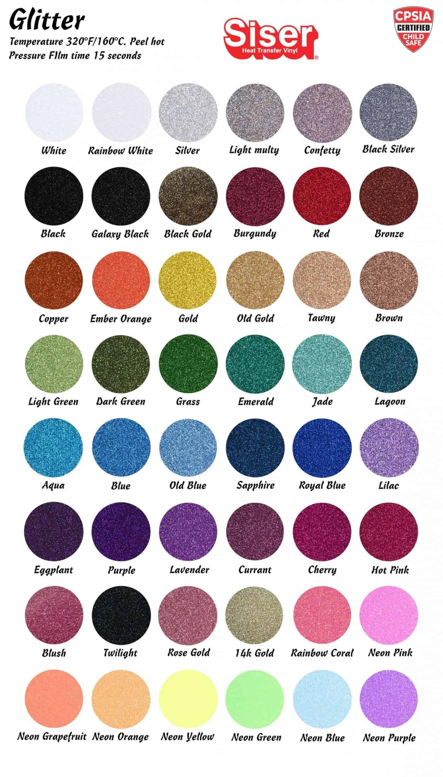 Siser Moda Glitter Color Chart 2021